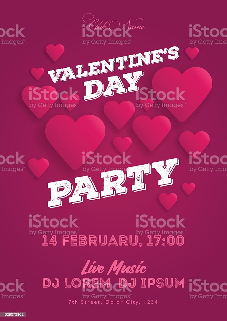 Valentines Day Party Invitation Flyer The Template For The Club ...