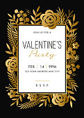 Valentine's Day party invitation with golden frame - Illustration