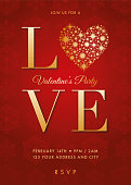 Valentine's Day party invitation with golden hearts - Illustration