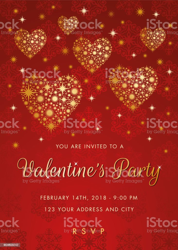 Valentines Day Party Invitation With Golden Hearts Stock Vector Art