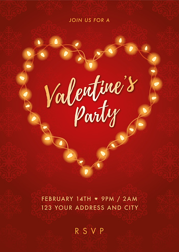Valentine's Day party invitation with Lights Heart.