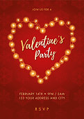 Valentine's Day party invitation with Lights Heart - Illustration