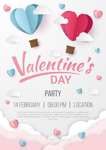 Valentines day party poster background with Heart paper cut style. Can be used for Wallpaper, flyers, invitation, posters, brochure, banners. Vector illustration.