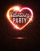 Valentines Day Party poster or flyer design template on dark red brick wall. Electric wire heart frame. Night club retro music dance event in 80s style. Bright neon vector illustration of invitation.