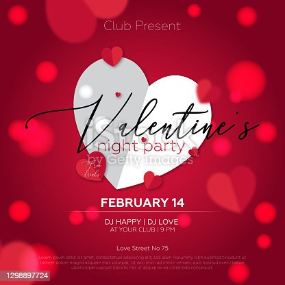 istock Valentines day party poster - Red background and heart shapes. 1298897724