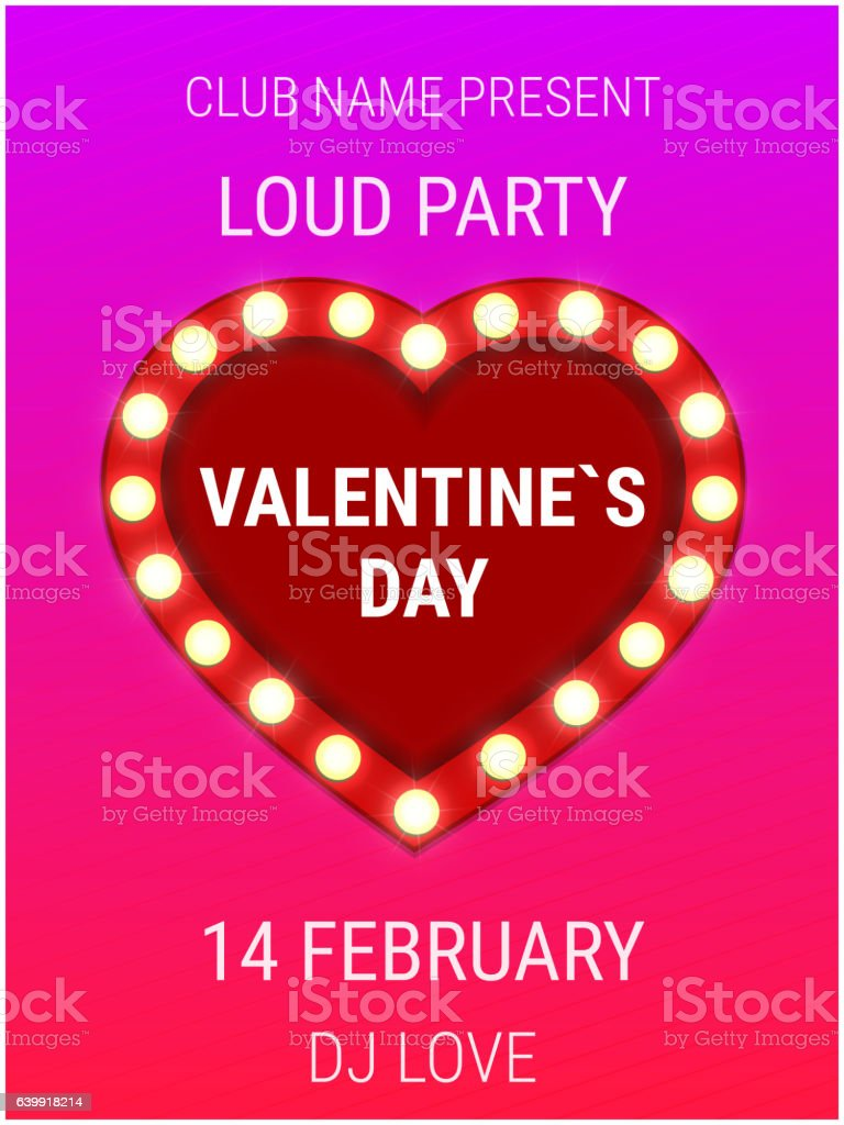 valentines day party poster template with shiny heart sign djの