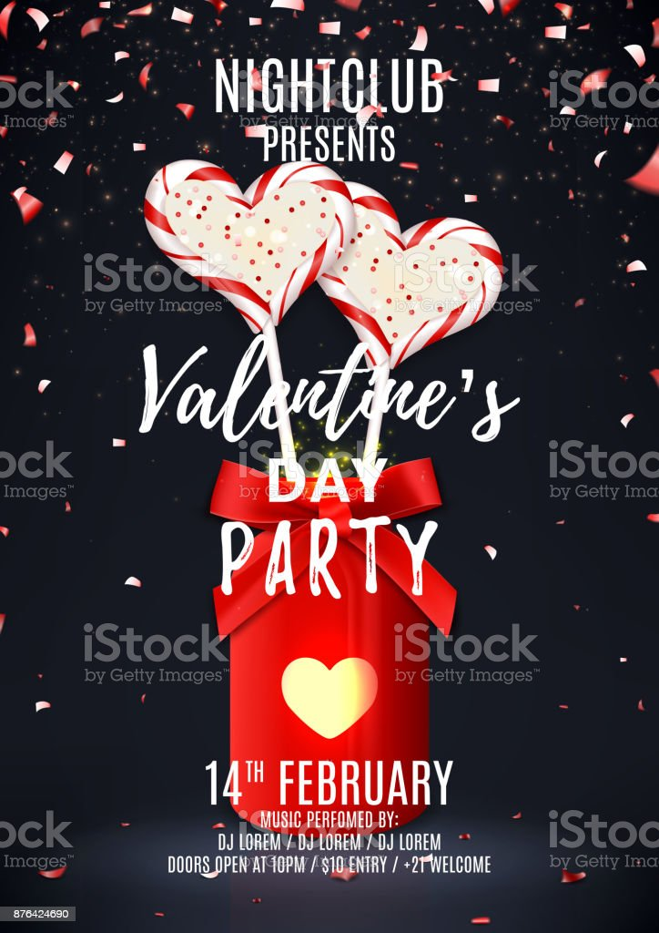 Valentines Day Party Poster Stock Vector Art More Images Of 14 15