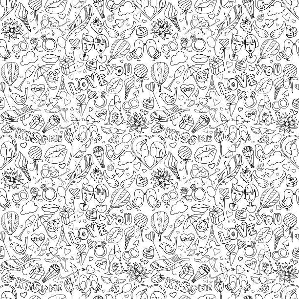 stockillustraties, clipart, cartoons en iconen met valentine's day pattern. sketch style. black & white - kiss