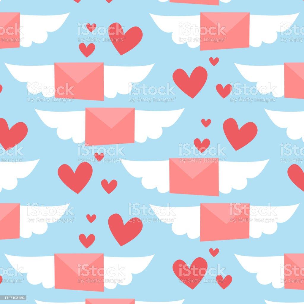 Motif De La Saintvalentin Aile Lettres Rose Avec Des Coeurs Rouges