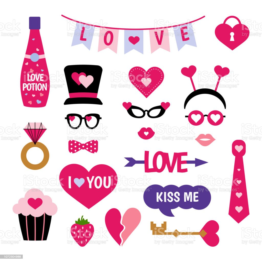 Valentines Day Photo Booth Props Stock Vector Art More Images Of