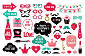 Valentine's Day photo booth props vector set. I love you.  Heart, hat, glasses, arrow, lips, funny quotes about love and other elements for photo. Photobooth stickers for valentine's celebration.