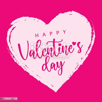 Valentines Day Pink Color Heart Label