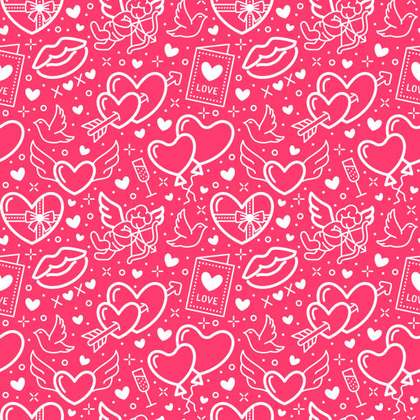 valentines day pink seamless pattern. love, romance flat line icons - hearts, chocolate, kiss, cupid, doves, valentine card. wallpaper for february 14 celebration - kiss stock illustrations