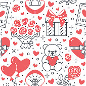 Valentines day pink seamless pattern. Love, romance flat line icons - hearts, chocolate, teddy bear, engagement ring, balloons, valentine card, red rose. Wallpaper for february 14 celebration.