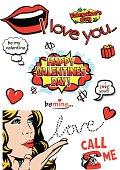 Comic book pop art style Valentine's Day design elements.