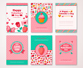 Valentines Day Poster, Banner, Greeting card, Flyer, Menu Templates. Vector illustration. Traditional symbols, flat icons. Labels with Valentines signs patterns. Party Invitation. Place for your text.