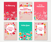 Valentines Day Poster, Banner, Greeting card Flyer, Menu Templates. Vector illustration. Traditional symbols, flat icons. Garlands with Valentines signs. Party Invitation. Place for your text.