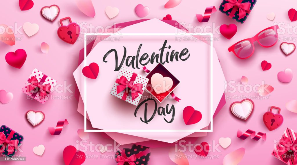Valentine\'s Day Poster or banner with sweet gift,sweet heart and...
