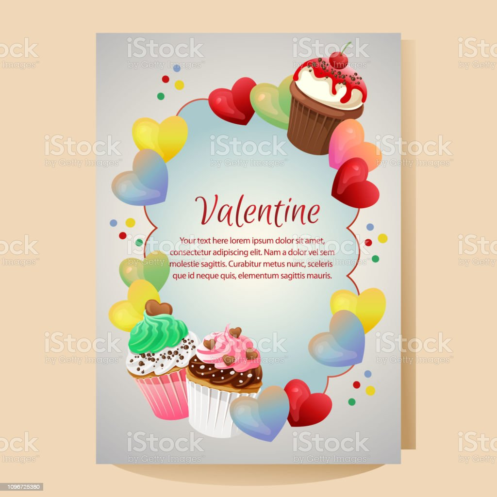 Valentines Day Poster Template With Cupcakes Ornate Stock