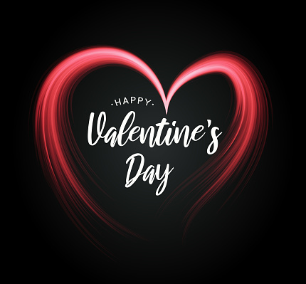 Valentine's Day poster with heart on black background. Vector