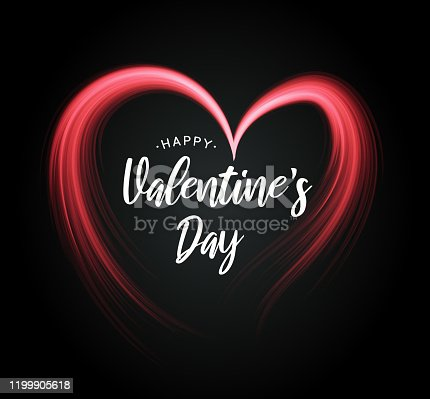 istock Valentine's Day poster with heart on black background. Vector 1199905618