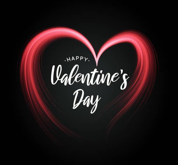 ilustraciones, imágenes clip art, dibujos animados e iconos de stock de cartel del día de san valentín con corazón sobre fondo negro. vector - font