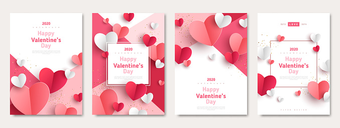 Valentines day posters set