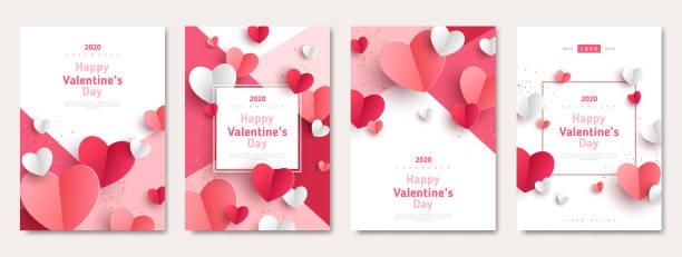 zestaw plakatów walentynkowych - kartka na walentynki stock illustrations