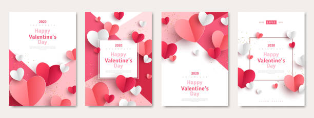 stockillustraties, clipart, cartoons en iconen met valentines day posters set - valentijnskaart