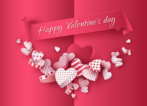 Valentines Day, Red greeting card with a garland of 3d hearts, Festive banner, Vector illustration
