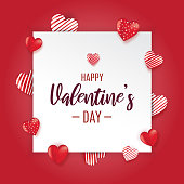 Valentine's Day red greeting card with hearts. Vector illustration. EPS10