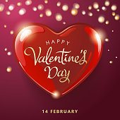 Celebrate Valentine's Day with red heart and sparkle lights background