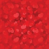 Vector Valentine's day red seamless pattern with hearts.