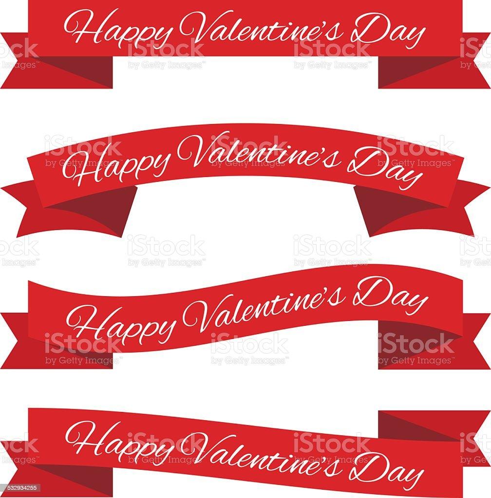 Valentine's day ribbons vector art illustration