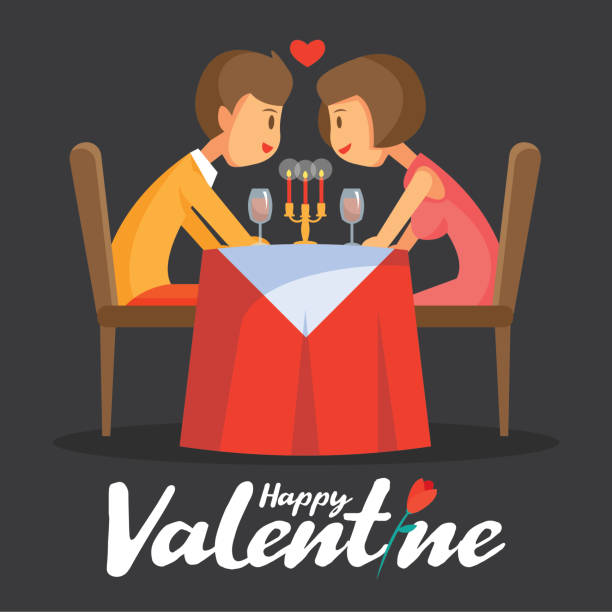 valentines day romantic candle dinner with lovely couple vector illustration - date night stock illustrations