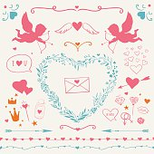 romantic decorative elements for Valentine's Day: vector hearts, flourishes, borders and decorative elements