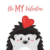 Vector cartoon style illustration of Valentine's day romantic gift card with cute hedgehog with heart. Be My Valentine text.
