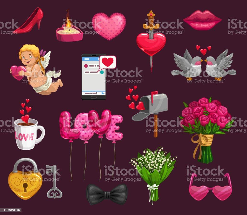 Romantische Liebe Geschenke Herzen Amor Stock Vektor Art Und Mehr Bilder Von Amor Istock