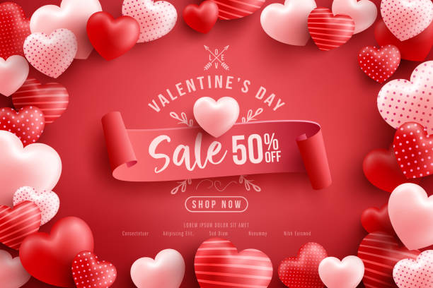 Valentine's Day Sale 50% off Poster or banner with many sweet hearts and on red background.Promotion and shopping template or background for Love and Valentine's day concept.Vector illustration eps 10 vector art illustration