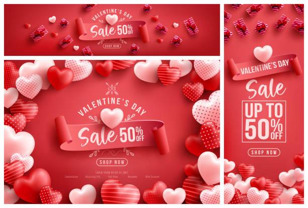 walentynkowa wyprzedaż 50% zniżki na plakat lub baner z wieloma słodkimi sercami i słodkimi prezentami na czerwonym tle. szablon promocji i zakupów lub tło dla koncepcji miłości i walentynki - kartka na walentynki stock illustrations