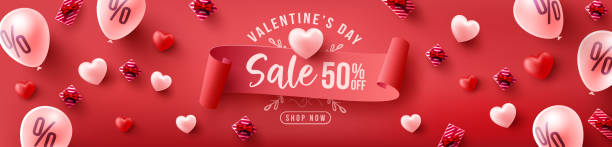 Valentine's Day Sale 50% off Poster or banner with sweet hearts and sweet gifts on red background.Promotion and shopping template or background for Love and Valentine's day concept vector art illustration