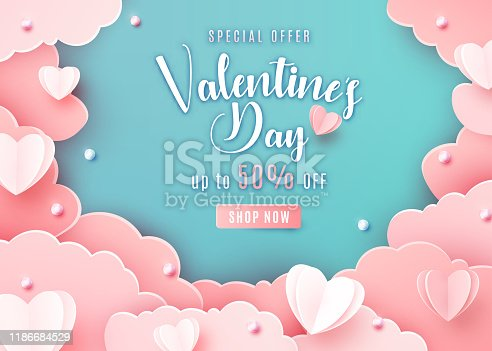 istock Valentines day sale background in trendy paper cut style. Paper clouds, hearts and realistic pearls border frame. Template sale banner, text offer 50 off 1186684529