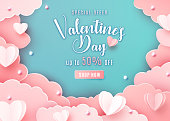 Valentines day sale background in trendy paper cut style. Paper clouds, hearts and realistic pearls border frame. Template sale banner, text offer 50 off.