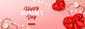 Valentine's Day sale background template. Vector illustration with realistic red gift boxes, sparkling light garland, candles and confetti on pink background. Promo discount banner.