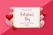 Vector illustration of Valentine's Day sale background with pink and red shaped hearts balloons. Vector illustration for greeting cards, wallpaper, flyers, invitation, posters, brochure, voucher, banners