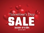 Valentines day sale background with blur 3d hearts. Vector illustration.