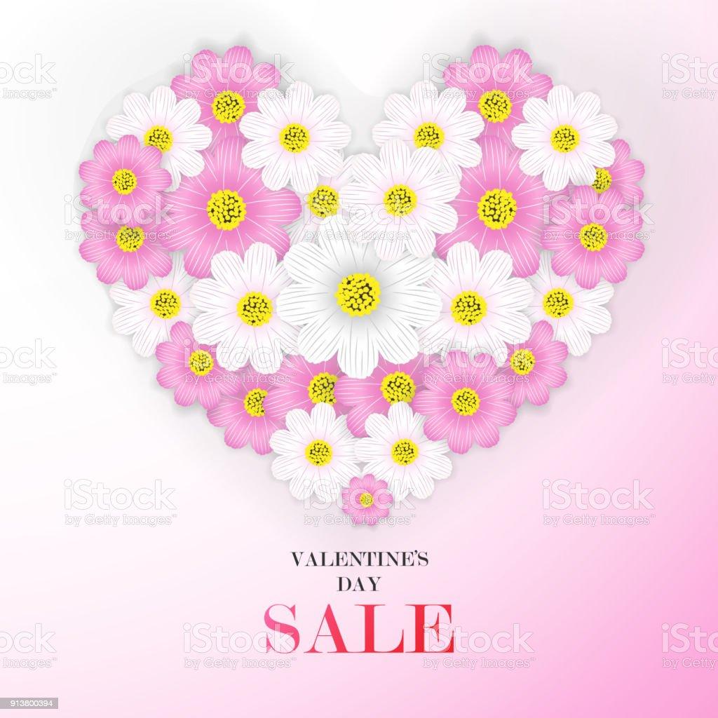 Valentinstagverkaufhintergrund Mit Schönen Blumen ...