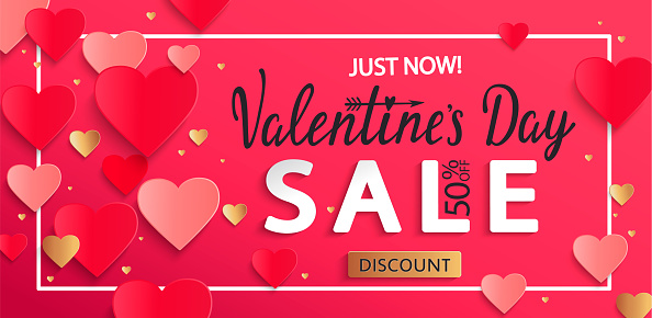 Valentines day sale background with gold hearts.