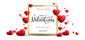 Valentines day sale background with Heart Shaped Balloons. Vector illustration.Wallpaper.flyers, invitation, posters, brochure, banners. - Vector