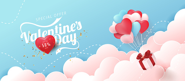 Valentines day sale background with Heart Shaped Balloons. Vector illustration.banners.Wallpaper.flyers, invitation, posters, brochure.